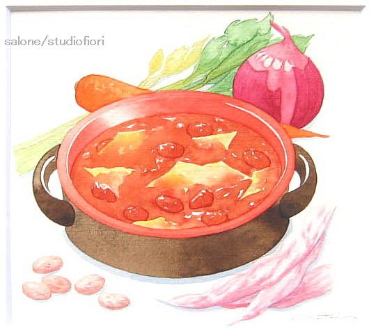 パスタ入りインゲン豆のスープ